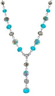 """2028 Silver Tone Aqua Pink Flower Beaded Drop Y Necklace 16"""" Adjustable"""