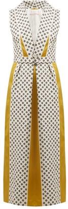 Marta Ferri - Belted Cowl Neck Cotton Dress - Womens - Green