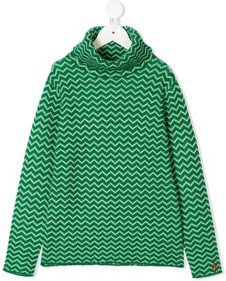 Perfect Moment Kids Zigzag Turtle Neck Sweater