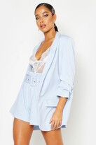boohoo Woven Tailored Ruched Sleeve Blazer