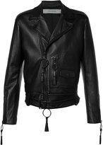Off-White Giorgio De Chirico biker jacket - men - Lamb Skin/Viscose - M
