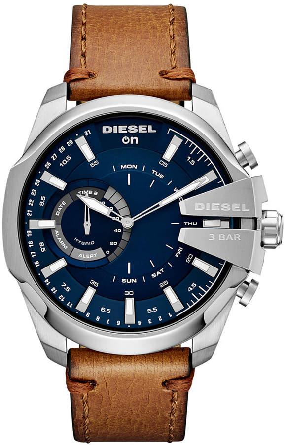 Diesel Men's Mega Chief Brown Leather Strap Hybrid Smart Watch 48mm