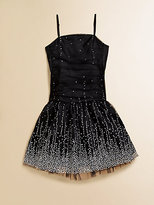 Un Deux Trois Girl's Shirred Embellished Party Dress