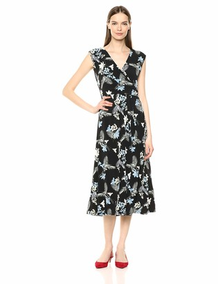 Chaus Women's Cap SLV Tropical Oasis Wrap Dress
