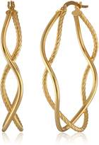 Amazon Collection 14k Gold Italian Diamond-Cut and High Polish Double Hoop Earrings