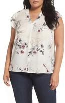 Sejour Plus Size Women's Flutter Sleeve V-Neck Top