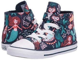 Converse Chuck Taylor(r) All Star(r) 1V Mermaid (Infant/Toddler) (Navy/Rapid Teal/White) Girl's Shoes