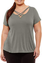 Xersion Short Sleeve Strappy Neck Tee - Plus