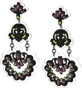 Steve Madden Tone Multi-Color Casted Stone Floral Design Down Post Drop Earrings