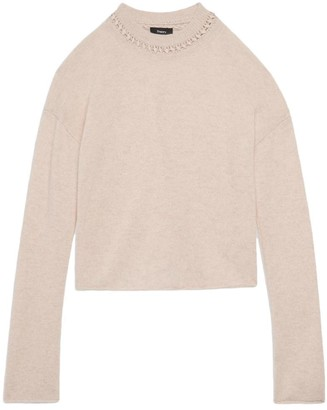 Theory Ribbon-trim Cropped Sweater In Cashmere