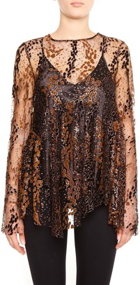 Opening Ceremony Layered Glitter Tulle Blouse