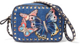 Valentino The Rockstud Leather-trimmed Embroidered Denim Shoulder Bag - Mid denim