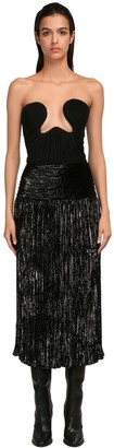 Saint Laurent Georgette & Lurex Velour Corset Dress