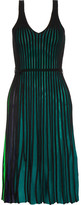 Kenzo Ribbed Stretch-knit Dress - Green