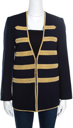 Zadig and Voltaire Deluxe Navy Blue Wool Gold Galloons Stripe Detail Blazer S