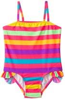 KensieGirl Rainbow Fever Stripe Ruffle Leg One Piece (2T4T) - 8129702