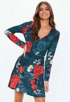 Missguided Navy Floral Print Skater Dress