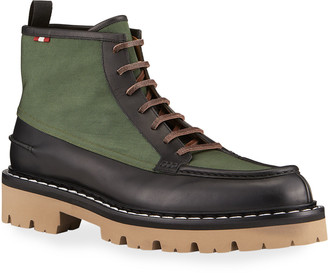 Bally Men's Lysius Mixed-Media Lace-up Boots