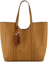Neiman Marcus Braided Tassel Faux-Leather Tote Bag, Camel