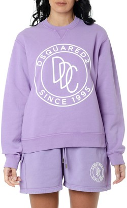 DSQUARED2 Lilac Cotton Printed Sweatshirt