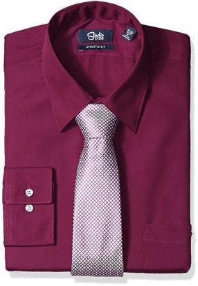 Studio 1735 Mens Dress Shirt Combo Neat Tie Athletic