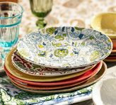 Pottery Barn Block-Print Oval Tapas Plate, Set of 4