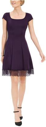 Donna Ricco Lace-Trim Fit & Flare Dress