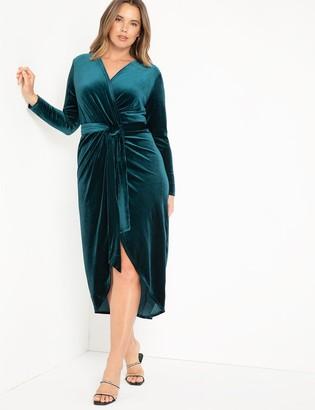ELOQUII Velvet Wrap Dress With Tie