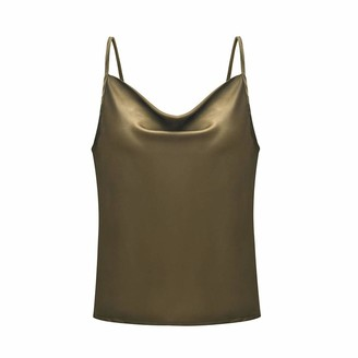 Amandaz Strappy Tops for Women Summer Sexy V Neck Solid Color Adjustable Casual Loose Basic Ladies Blouse Shirts Tank Tops Cami Camisole Vest Women's Solid Color U-Neck Adjustable Camisole Top Army Green