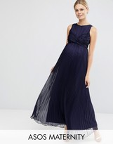 Asos WEDDING Pleated Maxi Dress with Ruched Detail