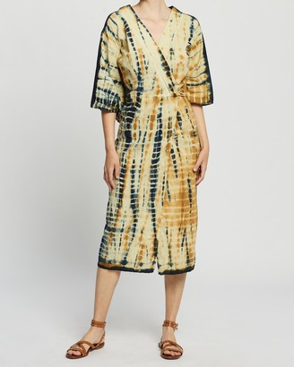 LENNI the label - Women's Yellow Midi Dresses - Katla Kimono Dress - Size One Size, XS at The Iconic