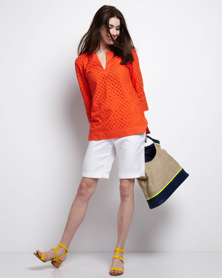 Neiman Marcus Long Linen Shorts, Simply White