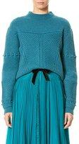 Carolina Herrera Mixed-Stitch Wool-Cashmere Sweater, Teal
