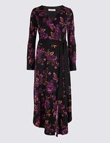 Per Una Floral Print Long Sleeve Wrap Midi Dress