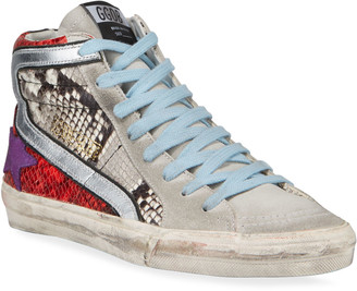 Golden Goose Mixed-Media Snake-Print High-Top Sneakers