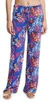 Etro Floral-Print Wide-Leg Coverup Pants, Blue Multi