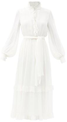 Etro Chio Ruffle-trim Silk-georgette Midi Dress - White