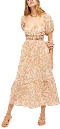 Free People Ellie Print Smocked Midi Dress