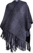 Inverni Cape with fringes in wool and silk