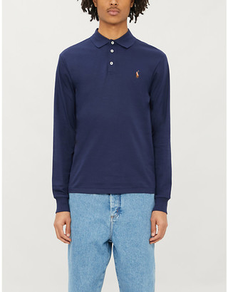 Polo Ralph Lauren Logo-embroidered long-sleeved cotton-jersey polo shirt