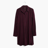 Madewell Flannel Side-Button Shirtdress in Jensen Plaid