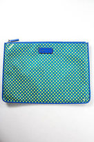 Marc by Marc Jacobs Blue Green Faux Leather Polka Dot Pouch Clutch Handbag
