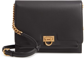 Salvatore Ferragamo Gancio Square Leather Crossbody Bag