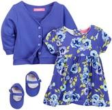 Isaac Mizrahi Pansy Floral Dress, Cardigan & Shoe Set (Baby Girls 12-24M)