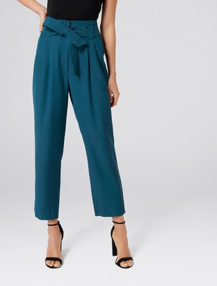 Forever New Natalia Tie Waist Tapered Pants - Teal - 4