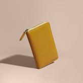 Burberry London Leather Ziparound Wallet, Yellow