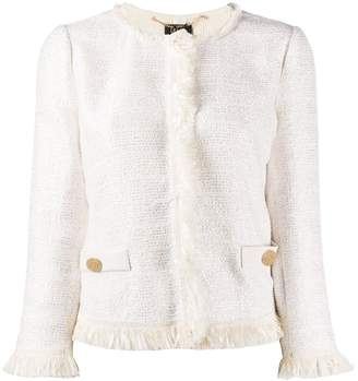 Liu Jo fringed trim tweed jacket