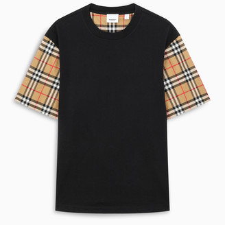 Burberry Serra oversized t-shirt with checked sleeves detail