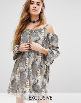 Reclaimed Vintage Cold Shoulder Dress In Animal Print