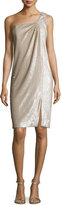 Halston One-Shoulder Twist Drape Dress, Dark Bone/Gold